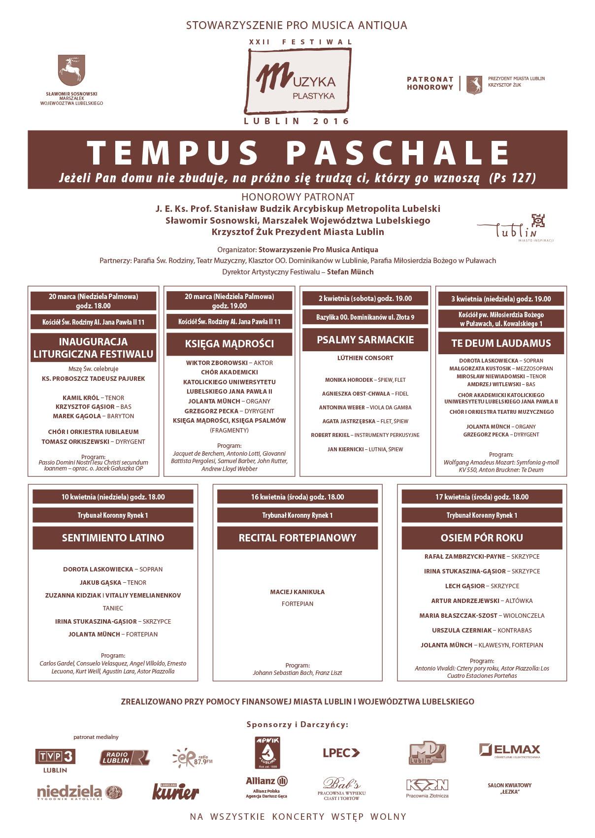 XXII Festiwal Tempus Paschale – Lublin 2016 (20.03-17.04.2016)