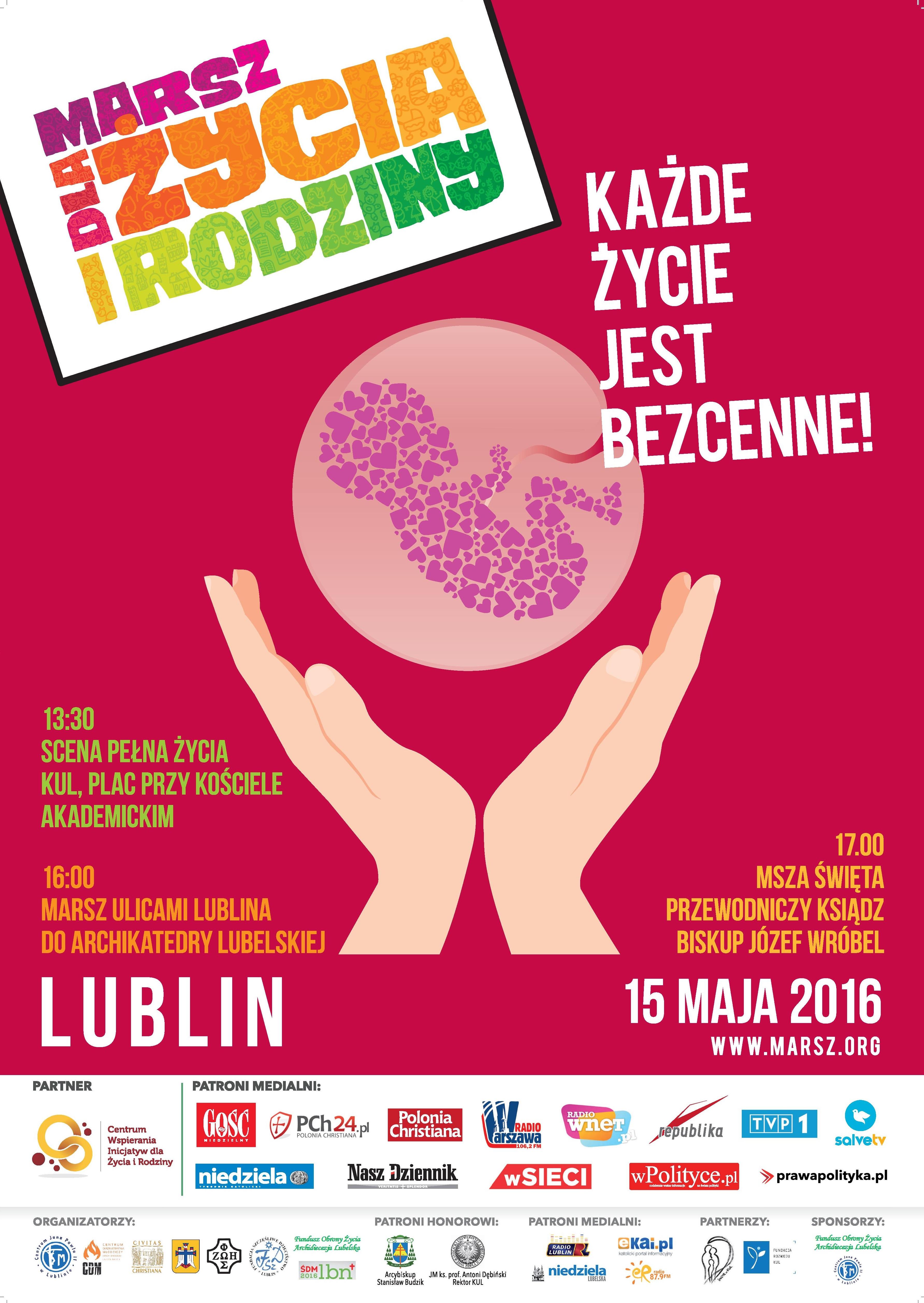 """Zaproszenie na """"Marsz dla Życia i Rodziny 2016"""" w Lublinie"""