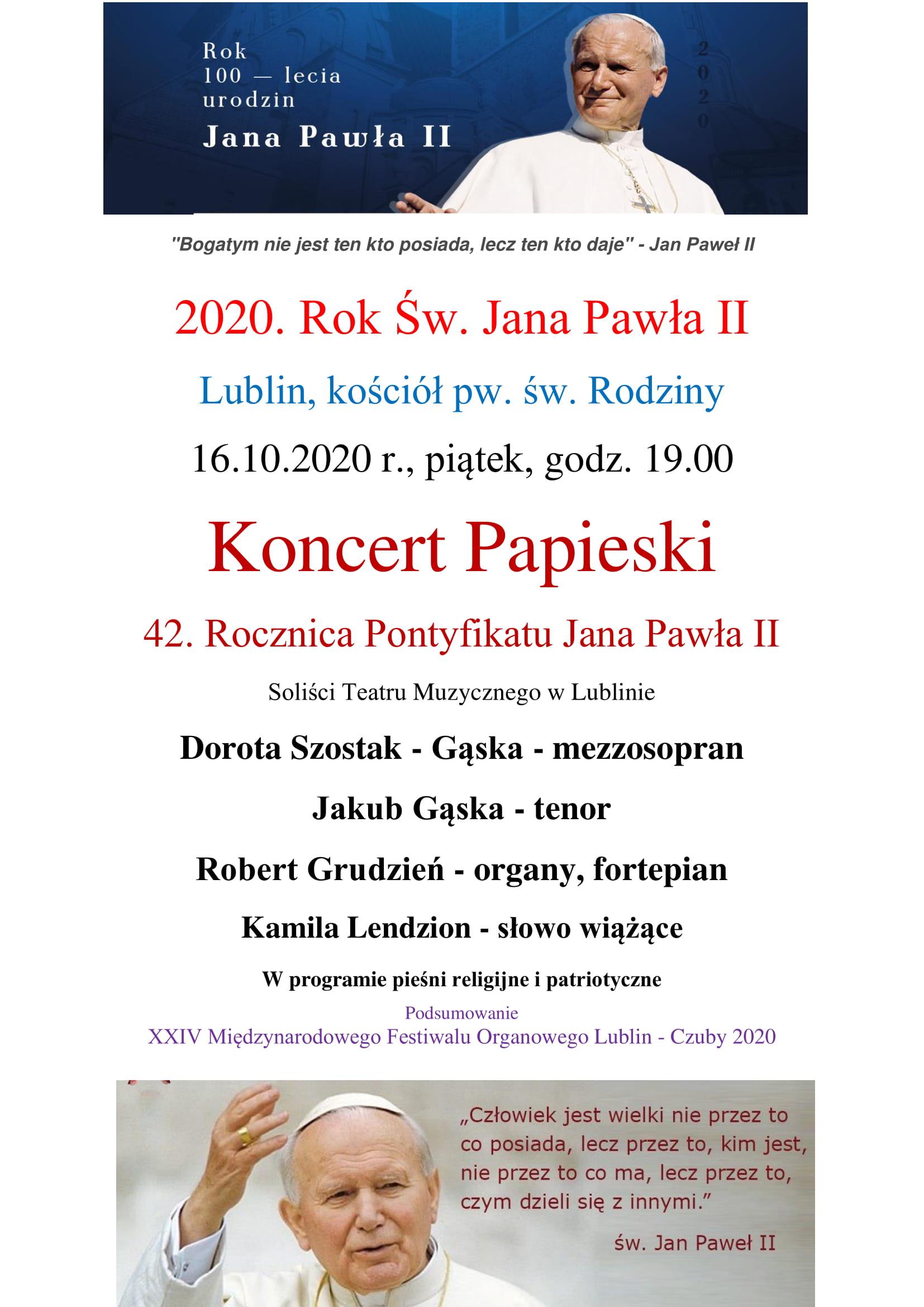 16.10.2020 godz. 19:00 - 42.Rocznica Pontyfikatu Jana Pawła II - Koncert Papieski