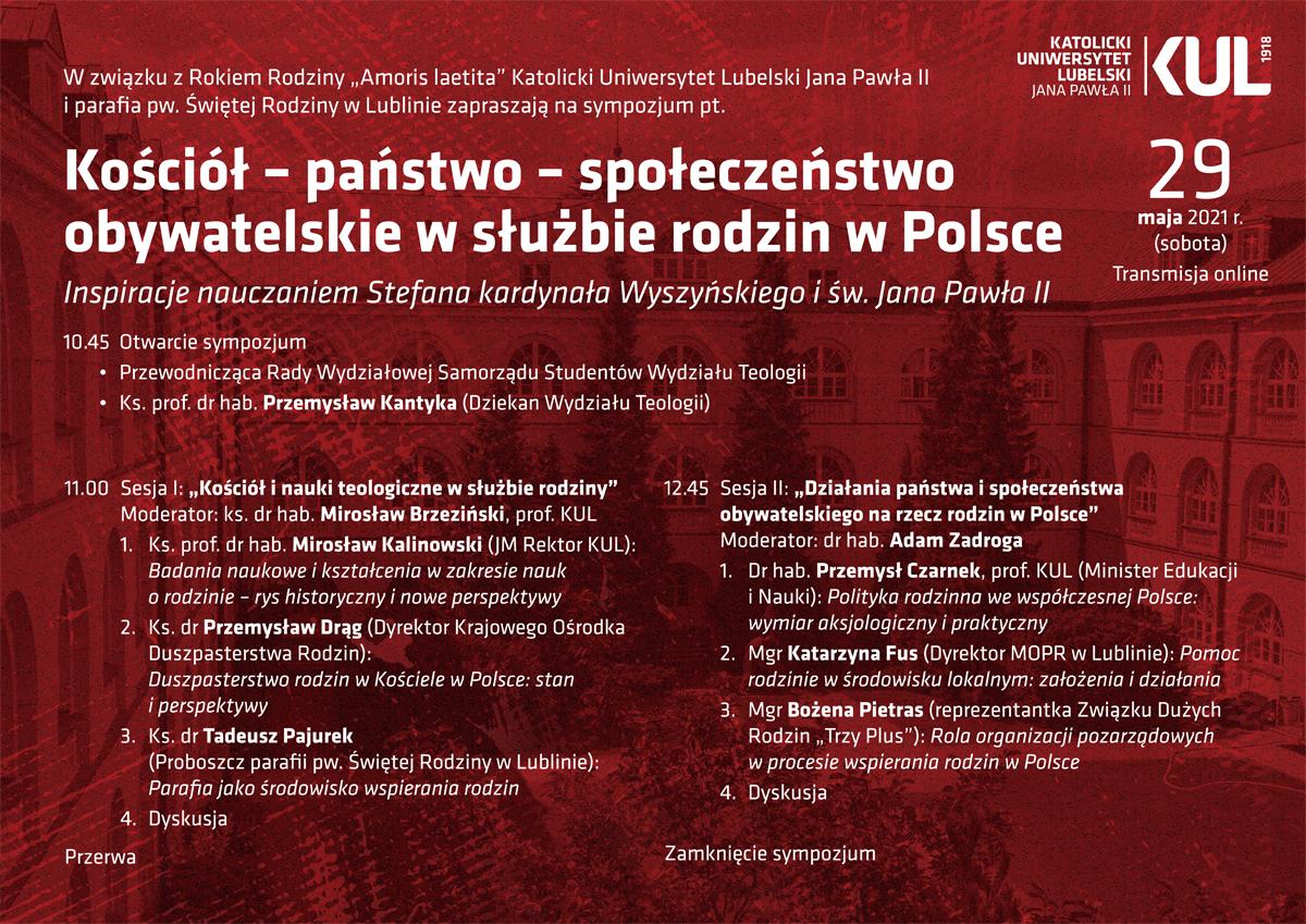Kościół - państwo - społeczeństwo obywatelskie w służbie rodzin w Polsce